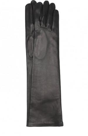 Удлиненные кожаные перчатки Agnelle. Цвет: чёрный