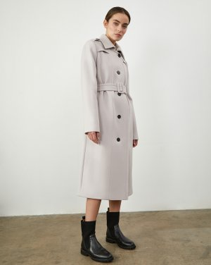 Пальто-тренч 12STOREEZ. Цвет: серый