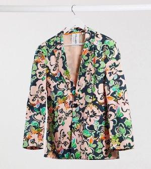 Пиджак с гавайским цветочным принтом COLLUSION Unisex-Многоцветный