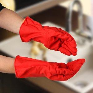 Перчатки хозяйственные латексные с утеплителем, размер l, 85 гр, цвет красный Доляна