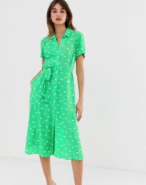 Платье-рубашка миди с цветочным принтом 2NDDAY Limelight Anemone-Зеленый 2nd Day