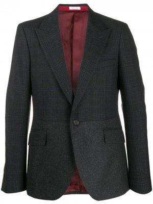 Твидовый пиджак в клетку Alexander McQueen. Цвет: серый