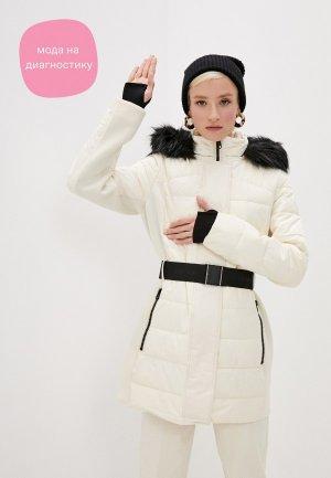 Куртка утепленная Calvin Klein. Цвет: бежевый