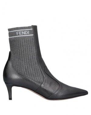 Полусапоги и высокие ботинки FENDI. Цвет: свинцово-серый