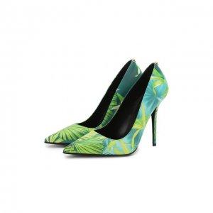 Кожаные туфли Versace. Цвет: зелёный