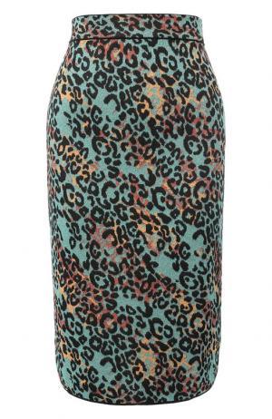 Вязаная юбка-миди с принтом и металлизированной нитью M Missoni. Цвет: бирюзовый
