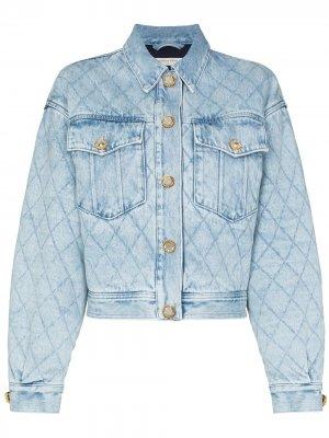 Стеганая джинсовая куртка с декорированными пуговицами Alessandra Rich. Цвет: синий