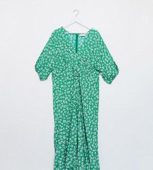 Зеленое чайное платье миди с цветочным принтом и завязкой ASOS DESIGN Curve-Мульти Curve