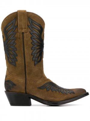 Ботинки в стиле вестерн с нашивками Ash. Цвет: коричневый
