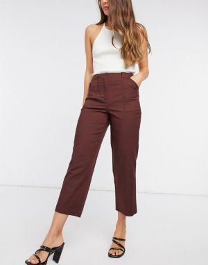 Коричневые классические брюки укороченной длины -Коричневый Y.A.S