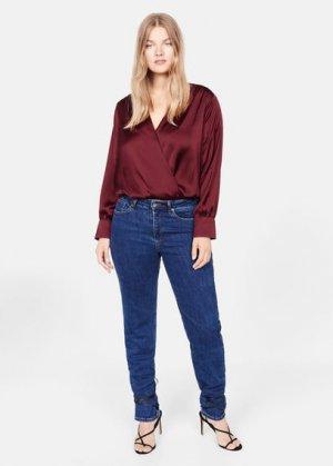 Атласная блузка-боди - Newbody Mango. Цвет: гранатовый