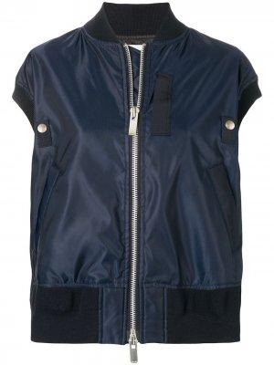 Куртка-бомбер без рукавов Sacai. Цвет: синий