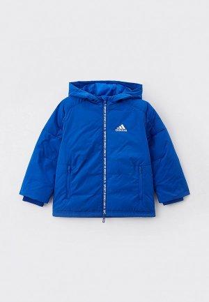 Пуховик adidas. Цвет: синий