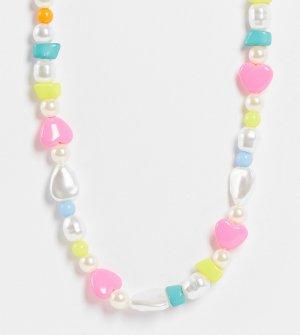 Ожерелье в стиле унисекс с отделкой разноцветным бусинами и искусственным жемчугом Inspired-Разноцветный Reclaimed Vintage