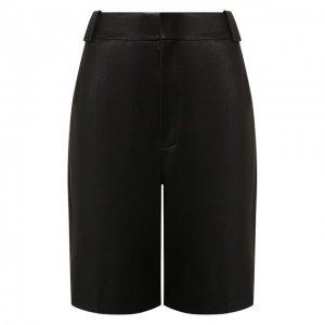 Кожаные шорты Saint Laurent. Цвет: чёрный