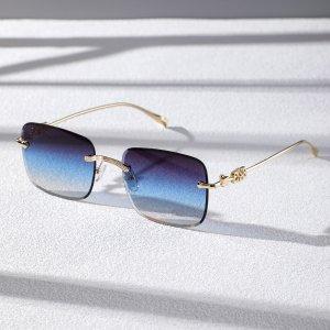 Мужские солнцезащитные очки без оправы с тонированными линзами SHEIN. Цвет: многоцветный