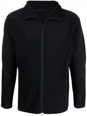 Плиссированная спортивная куртка на молнии Homme Plissé Issey Miyake. Цвет: синий