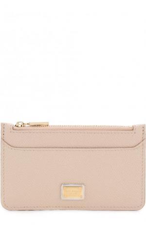 Кожаный футляр для кредитных карт с отделением на молнии Dolce & Gabbana. Цвет: светло-бежевый