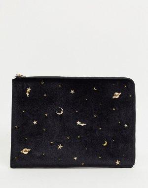 Черный чехол для 13-дюймового ноутбука с золотистым космическим принтом Skinnydip