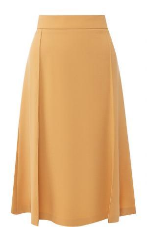 Однотонная юбка-миди из шерсти Chloé. Цвет: бежевый