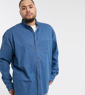 Синяя джинсовая рубашка классического кроя с пуговицами Plus-Синий ASOS DESIGN
