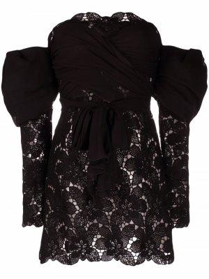 Off-shoulder lace dress Giambattista Valli. Цвет: черный