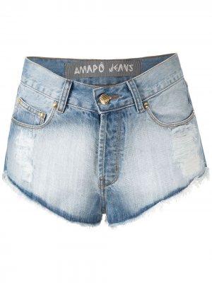 Джинсовые шорты мини Marcinha Amapô. Цвет: синий