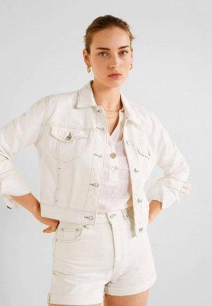Куртка джинсовая Mango - CROPPED. Цвет: белый