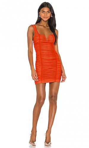 Мини платье с рюшами marlene superdown. Цвет: оранжевый