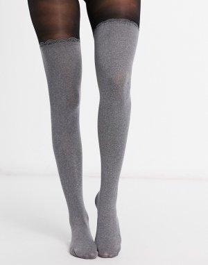 Светло-серые чулки выше колена -Серый Pretty Polly