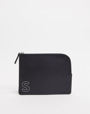 Черный кожаный кошелек на молнии с инициалом S ASOS DESIGN