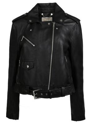 Кожаная куртка MICHAEL KORS. Цвет: черный