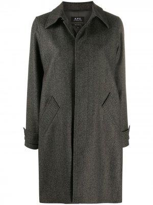 Пальто с потайной застежкой A.P.C.. Цвет: серый