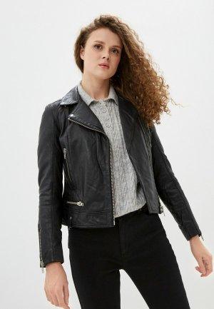 Куртка кожаная Naf. Цвет: черный