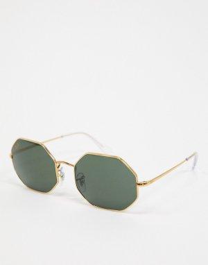 Восьмиугольные солнцезащитные очки золотистого цвета Ray-ban ORB1973-Золотой