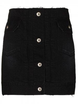 Джинсовая юбка-шорты sacai. Цвет: черный