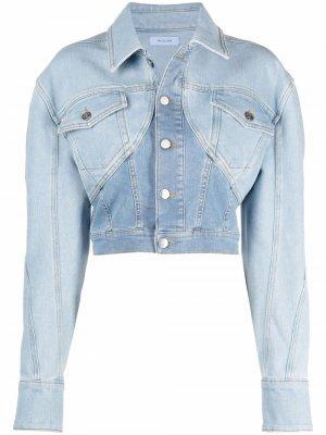 Двухцветная укороченная джинсовая куртка Mugler. Цвет: синий