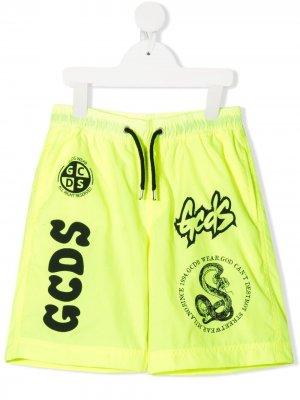 Плавки-шорты с логотипом Gcds Kids. Цвет: желтый