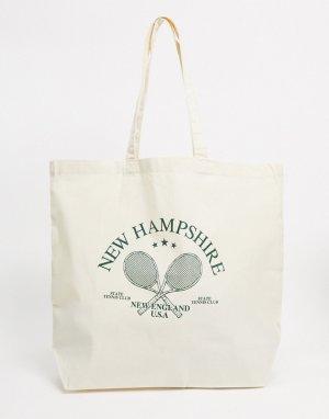 Бежевая сумка в стиле oversized со спортивным принтом -Бежевый ASOS DESIGN