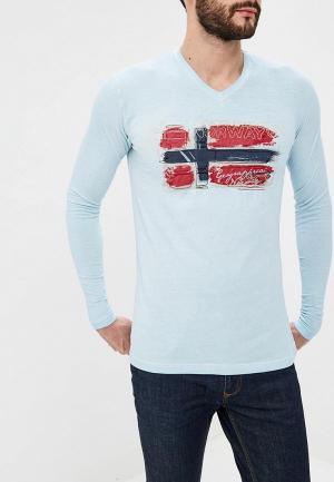 Лонгслив Geographical Norway. Цвет: голубой