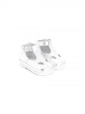 Ботинки Ox-Eye с пряжками Gallucci Kids. Цвет: серебристый