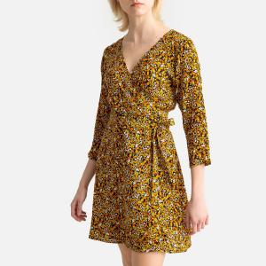 Платье короткое с запахом рисунком и рукавами 3/4 COMPANIA FANTASTICA. Цвет: черный/ желтый