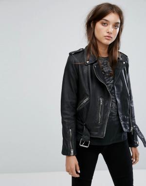 Кожаная байкерская куртка -Черный AllSaints