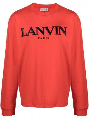 Толстовка с вышитым логотипом LANVIN. Цвет: красный