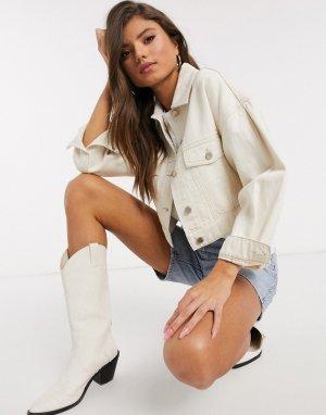 Бежевая укороченная джинсовая куртка с карманами -Белый Stradivarius