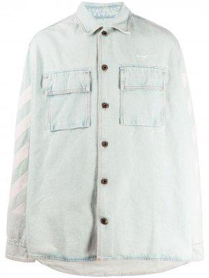 Джинсовая рубашка с принтом Off-White. Цвет: синий