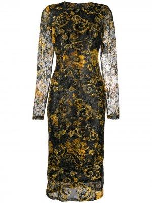 Платье миди с длинными рукавами и принтом Versace Jeans Couture. Цвет: черный