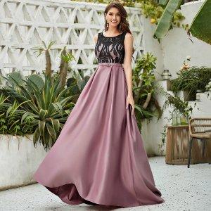 Вечернее платье Контрастный кружевом с бантом SHEIN. Цвет: лиловый фиолетовый