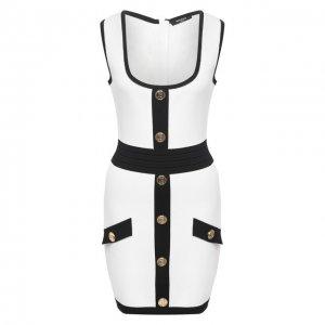 Платье из вискозы Balmain. Цвет: чёрно-белый