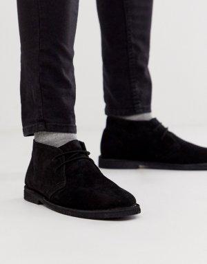 Черные замшевые ботинки чукка -Черный цвет ASOS DESIGN